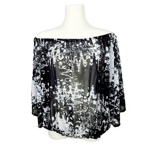 H&M Abstract Print Off Shoulder Batwing Sleeve Top